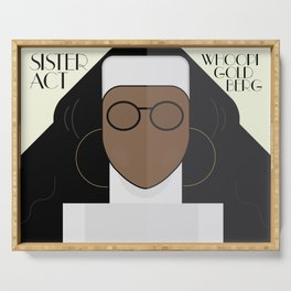 Sister Act, minimal Movie Poster, classic comedy film, funny, Whoopi Golberg, american cinema Serving Tray