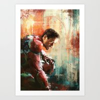 iron man Art Prints featuring The man of Iron by Wisesnail
