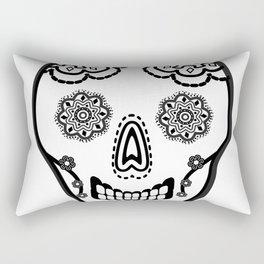 Black and White Sugar Skull (Calavera) Rectangular Pillow