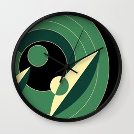 Retro Deco Green Wall Clock