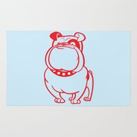 bulldog Area & Throw Rugs featuring Bulldog by drawgood