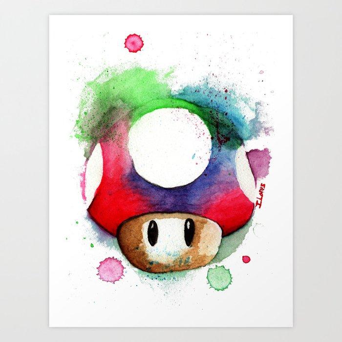 mushroom watercolor super mario up art print - Super Mario Pictures To Print