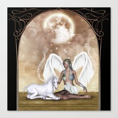 The fairy with wonderful, cute foal unicorn Canvas Print