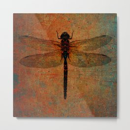 Dragonfly On Orange and Green Background Metal Print