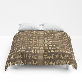 Brown & Gold Ancient Egyptian Hieroglyphic Script Comforters