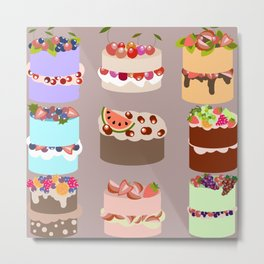 Set of delicious cakes with fruits and berries Metal Print