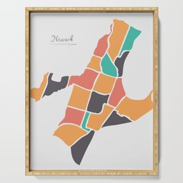 Newark New Jersey Map with neighborhoods and modern round shapes Serving Tray