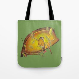 Festive Christmas Bird on a Berry Tree for the Holidays in Green Tote Bag