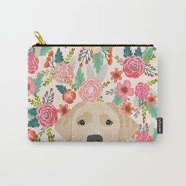 Labrador Retriever yellow lab floral pattern cute florals dog breed pure breed dog lover gifts Carry-All Pouch