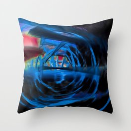 Energetic dark blue and red spiral Throw Pillow
