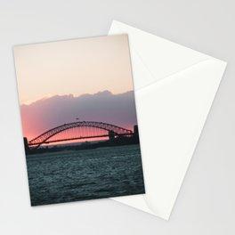 Sydney Harbour Bridge Pink Bright Sunset  Stationery Cards