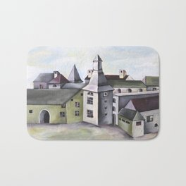 Pop Surrealism Watercolor Artwork with French Provenance Castle in Liege Bath Mat