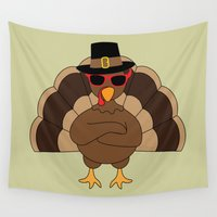 thanksgiving Wall Tapestries featuring Cool Turkey with sunglasses Happy Thanksgiving by PLdesign