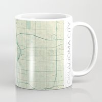 oklahoma Mugs featuring Oklahoma City Map Blue Vintage by City Art Posters