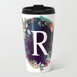 Personalized Monogram Initial Letter R Floral Wreath Artwork Travel Mug