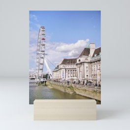 Postcard Picture of the London Eye & The Thames, bright blue tint Mini Art Print