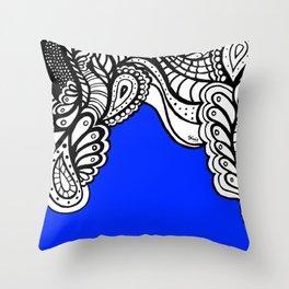 Blue Royal Doodle Artwork Throw Pillow