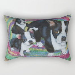 Boston Terrier and Puppies Rectangular Pillow