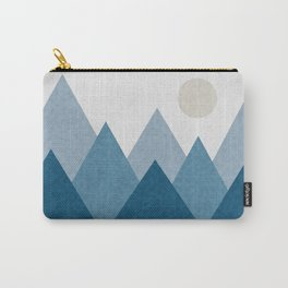 Calming Winter Abstract Geometric Mountains and Pine Trees with Reflections in Blue and Beige Tones Carry-All Pouch