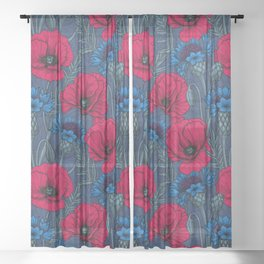 Red poppies and blue cornflowers on blue Sheer Curtain