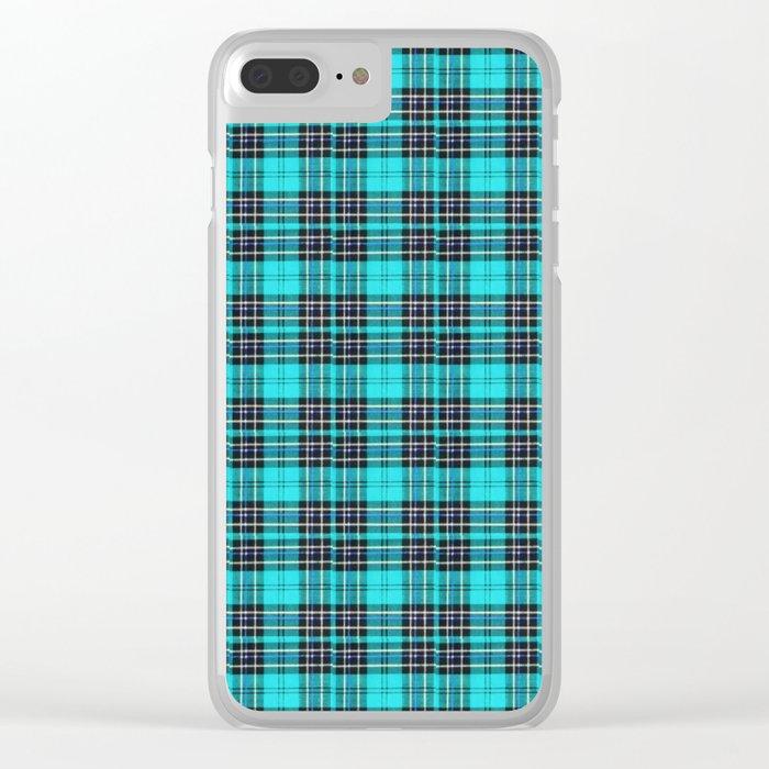 Lunchbox Blue Plaid Clear iPhone Case