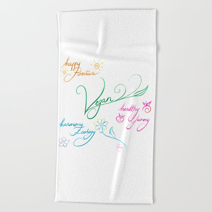 Vegan & happy lifestyle Beach Towel