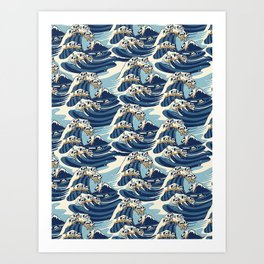 The Great Wave of Pug Pattern Art Print
