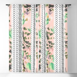 Pattern flowers and cactus Blackout Curtain