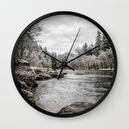 Wintry River Wall Clock