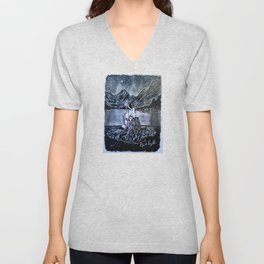 'Shoreline Dancing' Original Charcoal Drawing - Campfire Night Lake Mountains DWall Decor  Unisex V-Neck