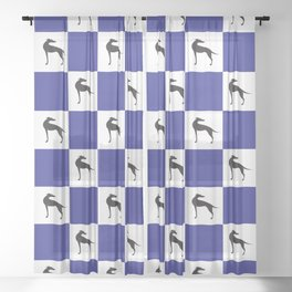 Checkerboard hounds Sheer Curtain