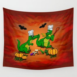 Today I will cook , Dragons - Happy Halloween ! Wall Tapestry