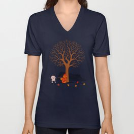 the fall and dog Unisex V-Neck