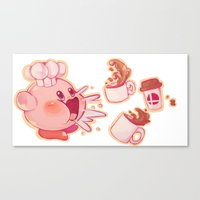 kirby Canvas Prints featuring Kirby Coffee by SweetOwls