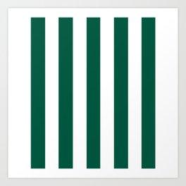 Castleton green - solid color - white vertical lines pattern Art Print