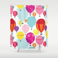 hot air balloons Shower Curtains featuring Hot air balloons by Tat Georgieva
