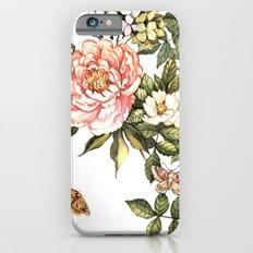 Vintage floral watercolor background Slim Case iPhone 6s