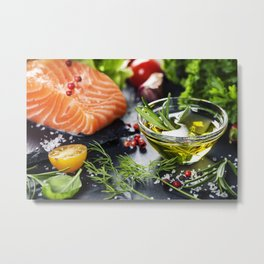 Delicious  portion of fresh salmon fillet  with aromatic herbs, spices and vegetables Metal Print