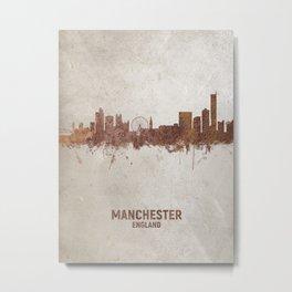 Manchester England Rust Skyline Metal Print