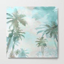 Aqua Blue Watercolor Palm Trees Metal Print