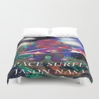 surfing Duvet Covers featuring surfing by jackybong629