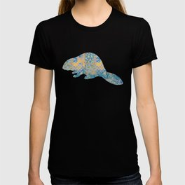 Beaver Vintage Floral Pattern Rustic Country Shabby Chic Blue Yellow Orange Grey T-shirt