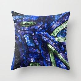 Blue Green Black Sequin Sparkle Throw Pillow