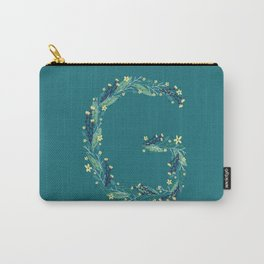Turquoise flowers alphabet G Carry-All Pouch