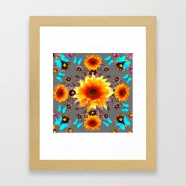 WESTERN BLUE BUTTERFLIES GOLDEN SUNFLOWERS GREY ART Framed Art Print