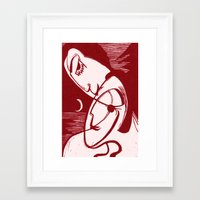 asexual Framed Art Prints featuring Asexual Kiss By The Sea And Under A Crescent Moon by taiche