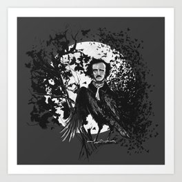 Unlikely Meeting in The Moonlight with Mr Edgar Allan Poe Art Print
