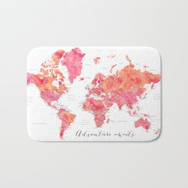 "Adventure Awaits watercolor world map in hot pink and orange, ""Tatiana"" Bath Mat"