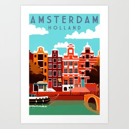 Vintage Amsterdam Holland Travel Art Print