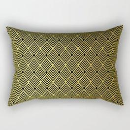 Gold & Black Art Deco Retro Vintage Revival Diamond Pattern Rectangular Pillow